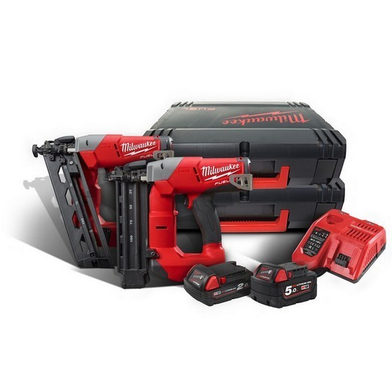 Image of MILWAUKEE M18FPP2H522X 18V NAILER TWIN PACK