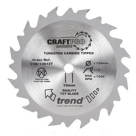 Image of Trend Csb16552t Craft Saw Blade 165mm X 52t X20mm