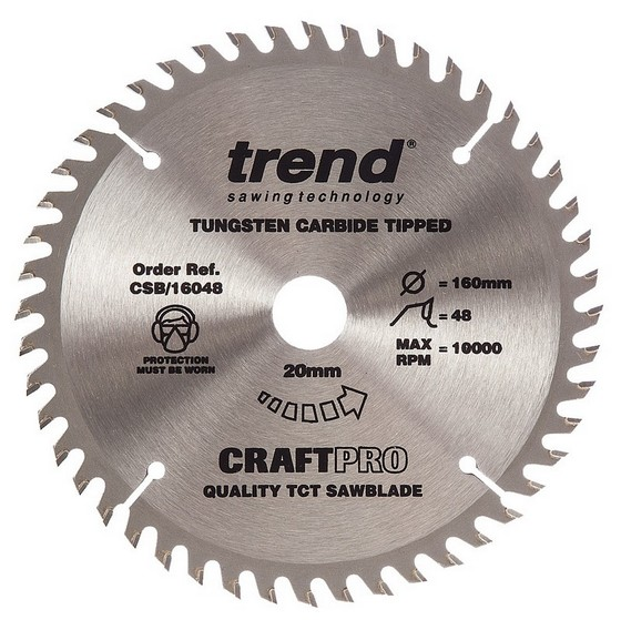 Image of TREND CSB16048 CRAFT SAW BLADE MEDIUM FINISH 160MM X 48T X 20MM