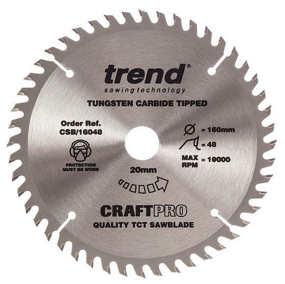 Image of TREND CSB16048 CRAFT SAW BLADE MEDIUM FINISH 160MM X 48T X 20MM