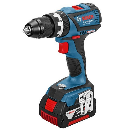Image of BOSCH GSB18VEC 18V BRUSHLESS COMBI DRILL WITH 2X 40AH LIION BATTERIES