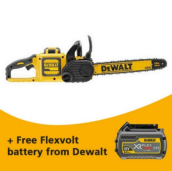 Image of Dewalt Dcm575x1gb 54v Xr Flexvolt 40cm Chainsaw With 1 X 90ah Liion Battery