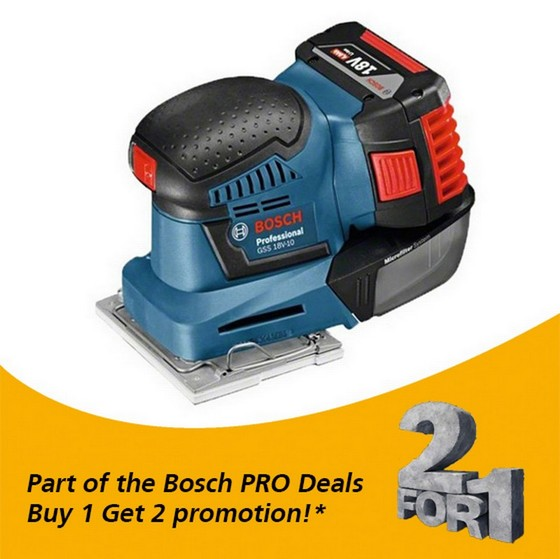 Image of BOSCH GSS18V10 18V ORBITAL SANDER WITH 2X 50AH LIION BATTERIES