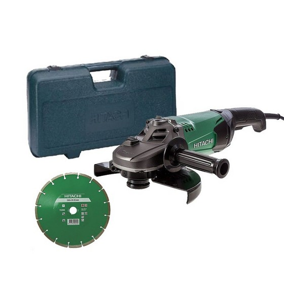 HITACHI G23STCD 230MM ANGLE GRINDER 240V SUPPLIED IN CARRY CASE WITH DIAMOND DISC