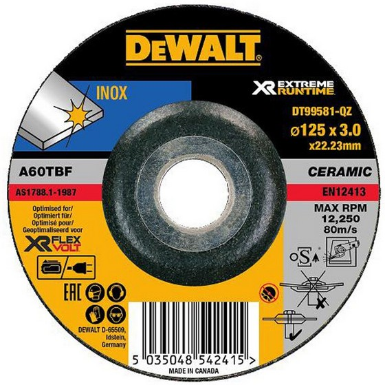 Image of Dewalt Dt99581qz Xr Flexvolt Metal Grinding Disc 125mm X 3mm