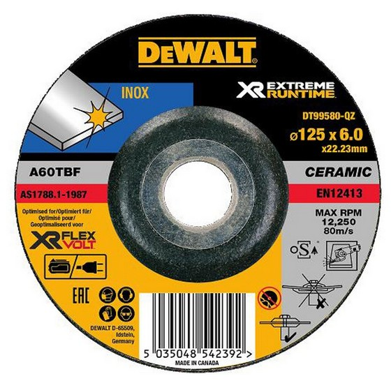 Image of Dewalt Dt99580qz Xr Flexvolt Metal Grinding Disc 125mm X 6mm