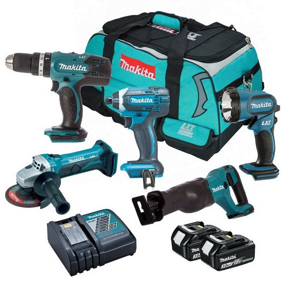 MAKITA 18V 5 PIECE KIT WITH 2X 30AH LIION BATTERIES SUPPLIED IN MAKITA KIT BAG