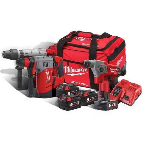 Image of MILWAUKEE M18FPP3A564B 18V SDS THUNDERBOLT KIT WITH 4 X LIION BATTERIES