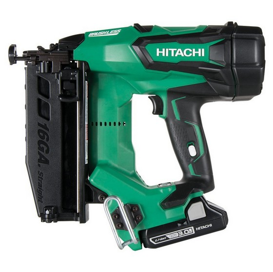 Image of HITACHI NT1865DBSLJM 18V 16 GAUGE BRUSHLESS 2ND FIX STRAIGHT NAILER 2 X 30AH LIION BATTERIES