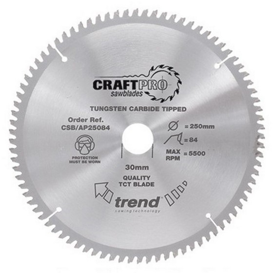 Image of TREND CSBAP16052 CRAFT SAW BLADE ALUMINIUM & PLASTIC 160MM X 52T X 20MM