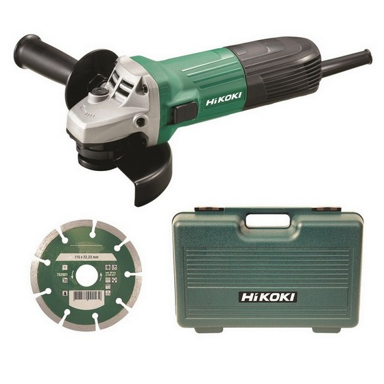 Image of HITACHI G12STXCD 115MM ANGLE GRINDER 240V IN CARRY CASE WITH DIAMOND DISC