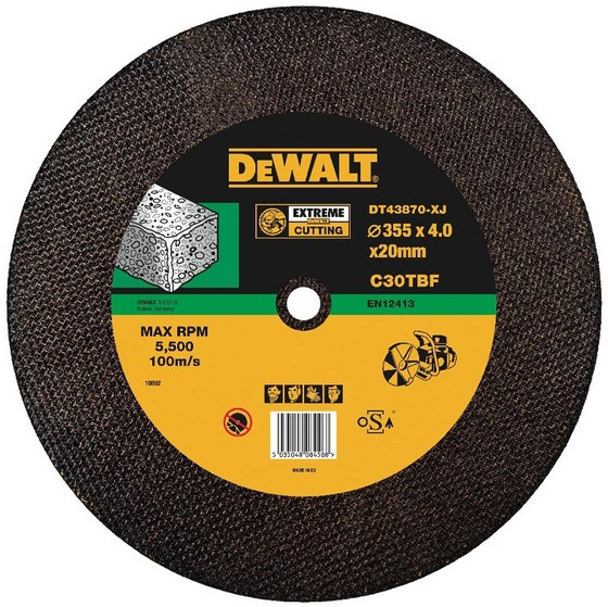 Image of Dewalt Dt43870xj 350x4x20mm T1 Concretestone Cutting Disc