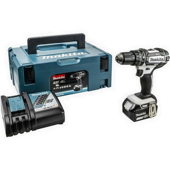 Image of Makita Dhp482m1jw 18v White Combi Hammer Drill With 1 X 40ah Liion Battery Supplied In Makpac Case