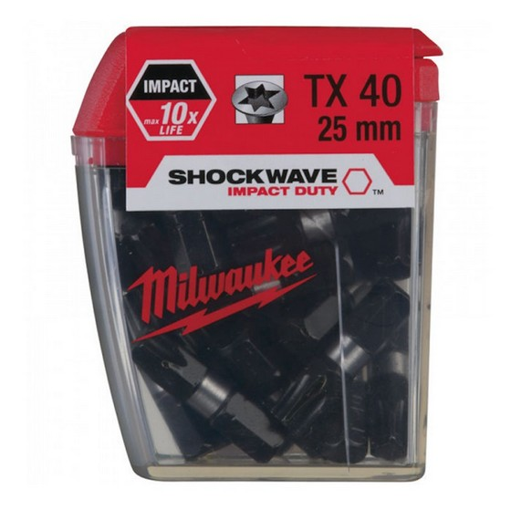 Image of Milwaukee 4932352709 Shockwave Torx Bits Tx40x25mm Pack Of 25