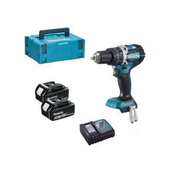 Image of Makita Dhp484rtj 18v Brushless Combi Hammer Drill With 2 X 50ah Liion Batteries Supplied In Makpac Case