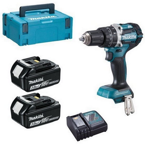 Image of MAKITA DHP484RFJ 18V BRUSHLESS COMBI HAMMER DRILL WITH 2 X 30AH LIION BATTERIES SUPPLIED IN MAKPAC CASE