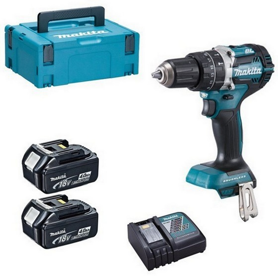 Image of MAKITA DHP484RMJ 18V BRUSHLESS COMBI HAMMER DRILL WITH 2 X 40AH LIION BATTERIES SUPPLIED IN MAKPAC CASE