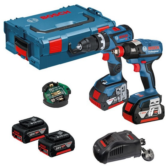 Image of BOSCH GSB18V60C & GDX18VEC & GCY304 DYNAMIC SERIES 18V COMBI 2X 50AH LIION BATTERIES IN LBOXX CASE