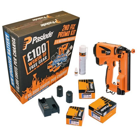 Image of PASLODE IM65 LITHIUM F16 2ND FIX STRAIGHT BRAD NAILER KIT 2X LIION BATTERIES