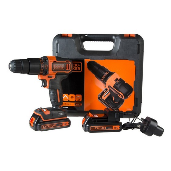 Image of BLACK & DECKER 18V COMBI DRILL WITH 2X15AH LIION BATTERIES