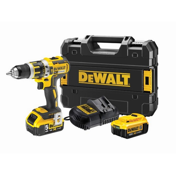 Image of DEWALT 18V XR BRUSHLESS COMBI DRILL WITH 1 X 50AH & 1 X 40AH LIION BATTERIES CHARGER & CASE