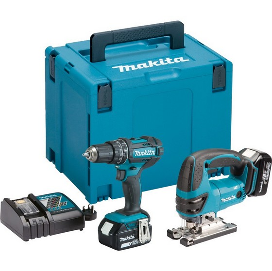 Image of MAKITA DLX2134MJ 18V COMBI DRILL & JIGSAW TWIN PACK WITH 2X40AH LIION BATTERIES
