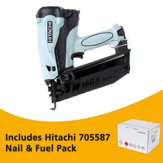 Image of HITACHI NT65GB 36V 2ND FIX ANGLED BRAD NAILER 2X 15AH LIION BATTERIES