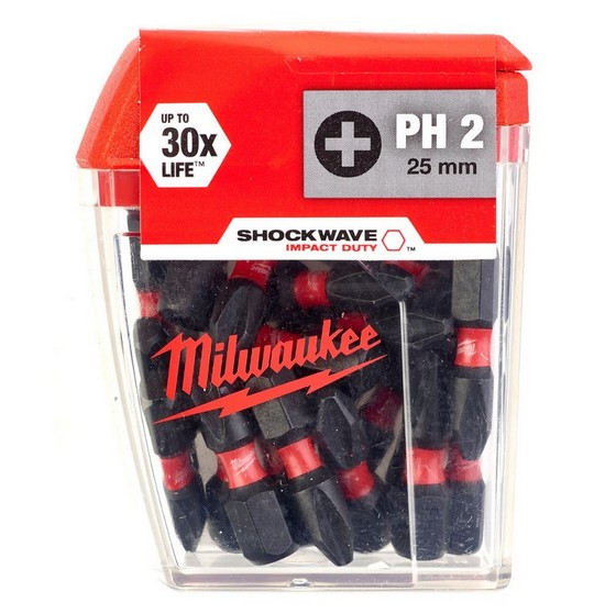 Image of Milwaukee 4932430853 Shockwave Phillips Screwdriver Bits Ph2x25mm Pack Of 25