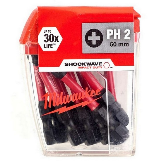 Image of Milwaukee 4932430855 Shockwave Phillips Screwdriver Bits Ph2x50mm Pack Of 10