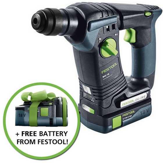 Image of FESTOOL 574925 BHC18 LI 18V SDS HAMMER DRILL 2X31AH AIRSTREAM LIION BATTERIES SUPPLIED IN TLOC CASE