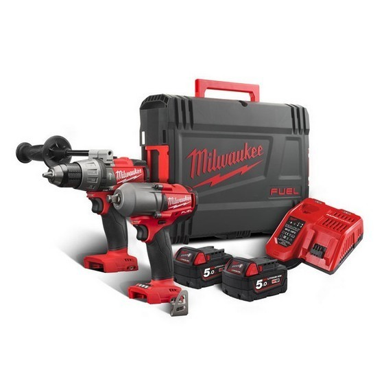 Image of MILWAUKEE M18FPP2W502X 18V COMBI & MID TORQUE IMPACT WRENCH 2 X 50AH LIION BATTERIES