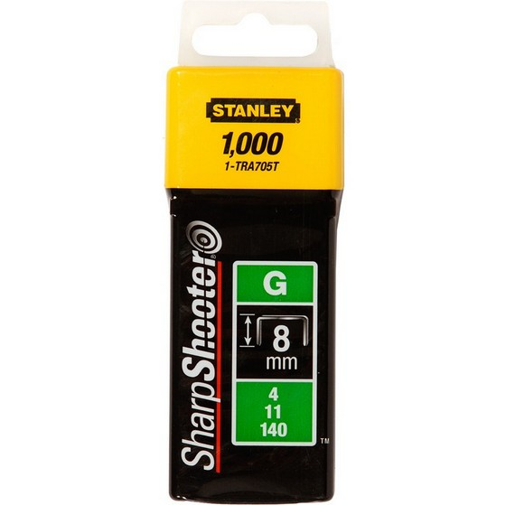 Image of STANLEY STA1TRA705T HEAVY DUTY SHARP SHOOTER STAPLES 8MM PACK OF 1000