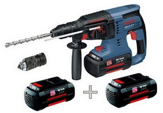 BOSCH GBH36VFLI 36V SDS HAMMER DRILL 2x2.6ah Li-ion BATTERIES + 3rd BATTERY