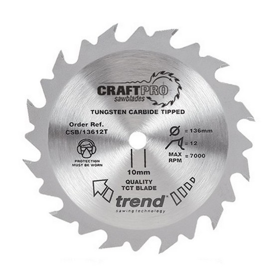 Image of TREND CSB13624TA CRAFT SAW BLADE 136MM X 24T X20MM