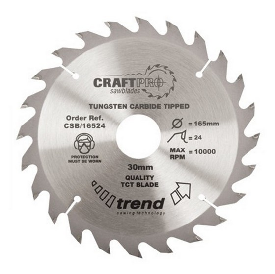 Image of Trend Csb16024 Medium Finish Tct Circular Saw Blade 160mm X 24t X 20mm