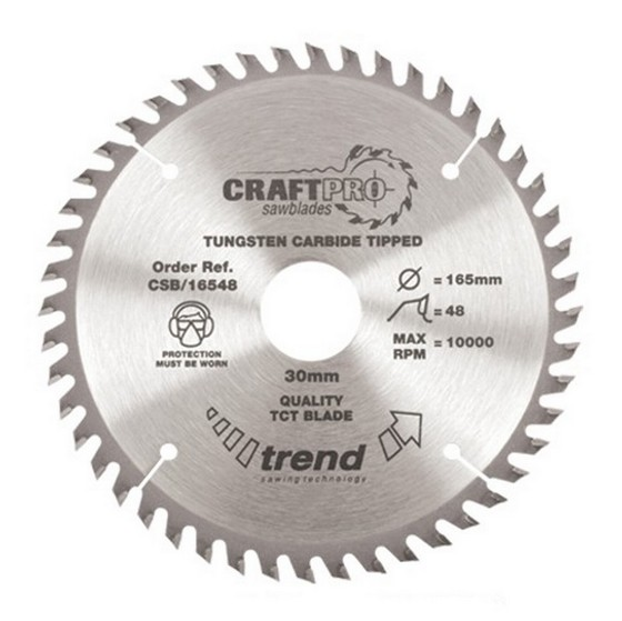 Image of TREND CSB16548 CRAFT SAW BLADE 165MM X 24T X 20MM