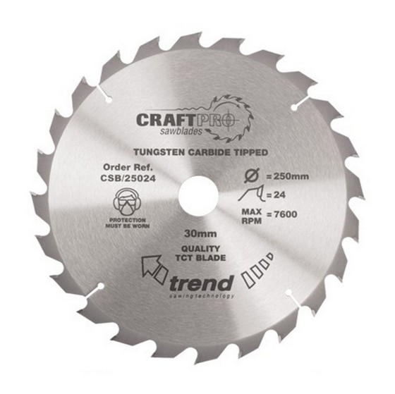 Image of TREND CSB25024 MEDIUM FINISH TCT CIRCULAR SAW BLADE 250MM X 24T X 30MM
