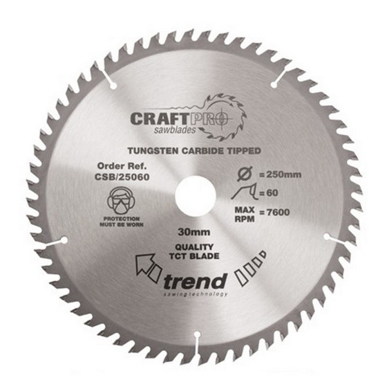 Image of TREND CSB25060 MEDIUM FINISH TCT CIRCULAR SAW BLADE 250MM X 60T X 30MM