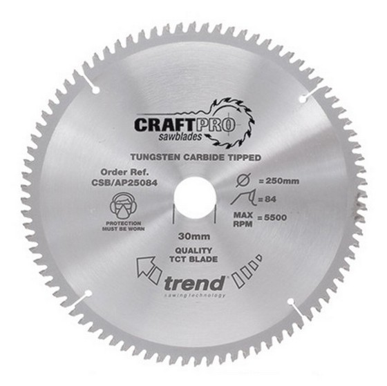 Image of TREND CSBAP25084 CRAFT SAW BLADE ALUMINIUM AND PLASTIC 250MM X 84 TEETH X 30MM
