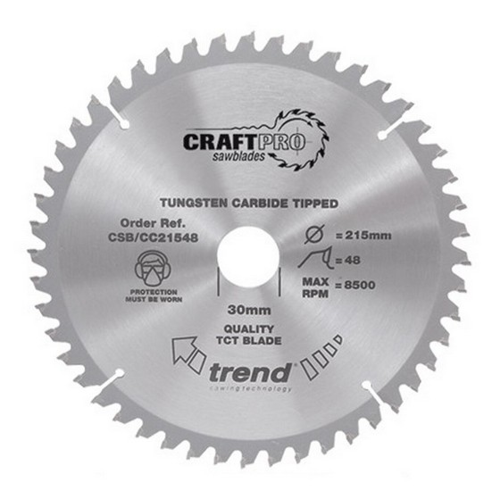 Image of TREND CSBCC25072 EXTRA FINE FINISH TCT CIRCULAR MITRE SAW BLADE 250MM X 72T X 30MM