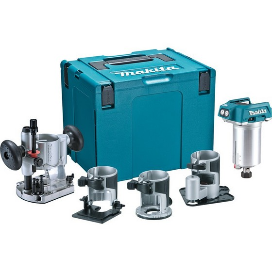 Image of MAKITA DRT50ZJX3 18V BRUSHLESS ROUTER TRIMMER KIT BODY ONLY WITH PLUNGE BASES