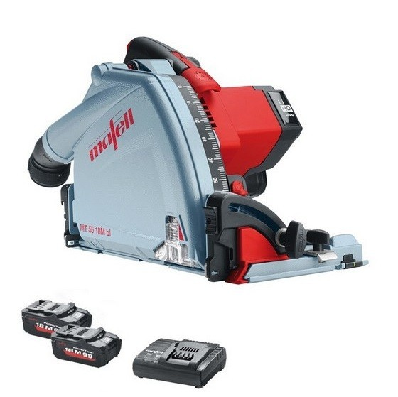 Image of MAFELL 918821 MT55 18V PLUNGE SAW WITH 2 X 55AH LIHD BATTERIES CHARGER & DUST BAG