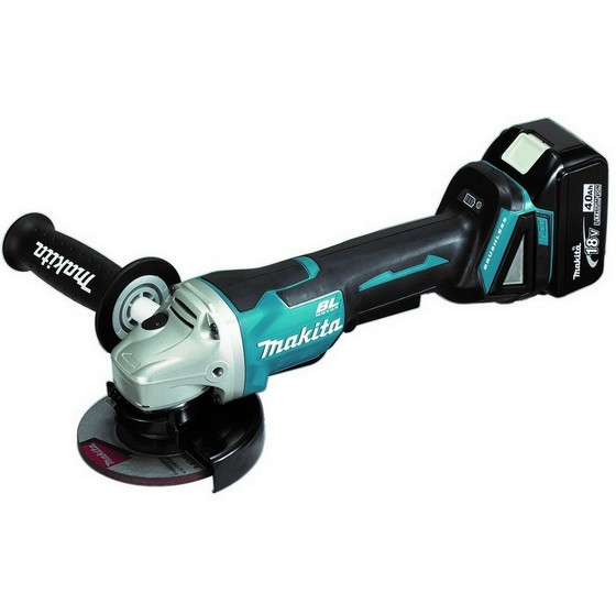 Image of MAKITA DGA458RTJ 18V 115MM BRUSLESS ANGLE GRINDER WITH 2 X 50AH LIION BATTERIES SUPPLIED IN MAKPAC CASE