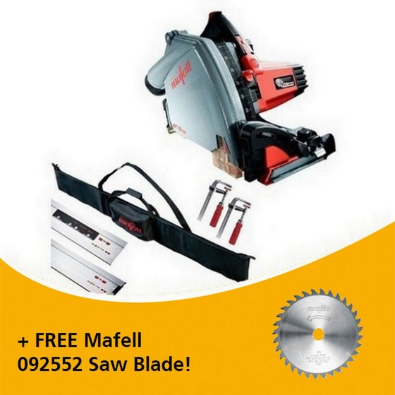 Image of MAFELL 917632 MT55 1400W PLUNGE SAW KIT 230V WITH 2X 16M RAILS 2X CLAMPS 1X CONNECTOR & 1X RAIL BAG