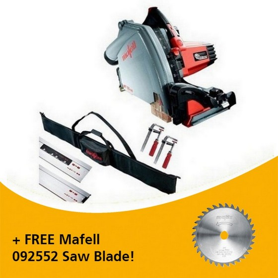 Image of MAFELL 917636 MT55 1400W PLUNGE SAW KIT 110V WITH 2X 16M RAILS 2X CLAMPS 1X CONNECTOR & 1X RAIL BAG