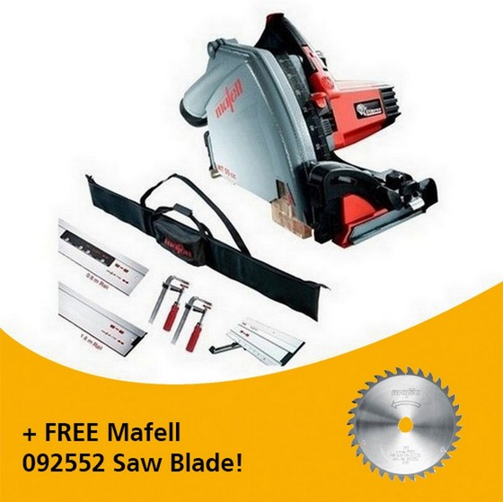 Image of MAFELL 917632 MT55 1400W PLUNGE SAW KIT 230V WITH 1X 08M RAIL 1X 16M RAIL 1X BEVEL TRACK 2X CLAMPS 1X CONNECTOR & RAIL BAG