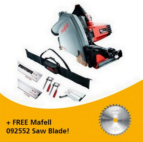Image of MAFELL 917636 MT55 1400W PLUNGE SAW 110V KIT WITH 1X 08M RAIL 1X 16M RAIL 1X BEVEL TRACK 2X CLAMPS 1X CONNECTOR & RAIL BAG