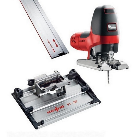 Image of MAFELL 917121 P1CC 900W BODY GRIP JIGSAW 240V KIT WITH 1X 08M GUIDE RAIL & TILTING BASE PLATE