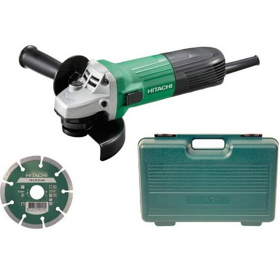 Image of HITACHI G12STXCD 115MM ANGLE GRINDER 110V IN CARRY CASE WITH DIAMOND DISC