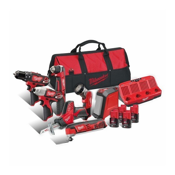 Image of MILWAUKEE M12BPP7A204B 12V 7 PIECE BRUSHED POWERPACK